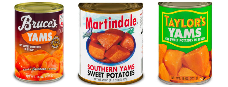 three cans of candied yams (sweet potatoes)
