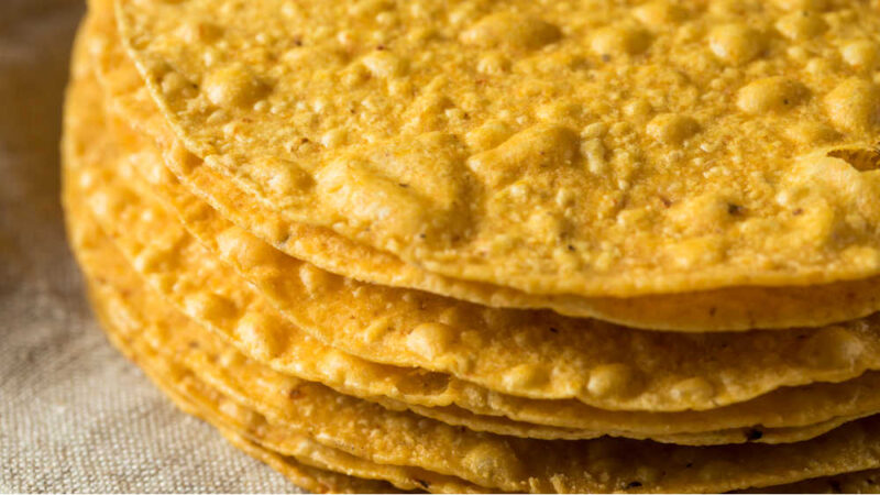 a stack of fried corn tortillas