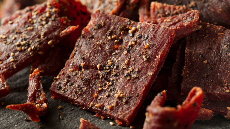 a pile of peppered beef jerky
