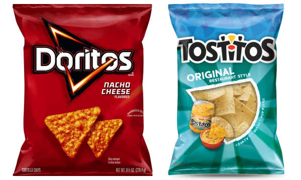 packages of Dortitos and Tostitos tortilla chips