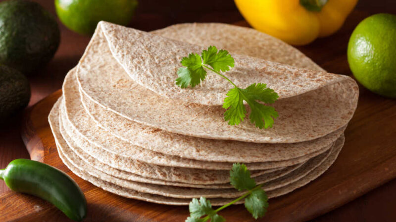 a stack of whole grain wheat tortillas