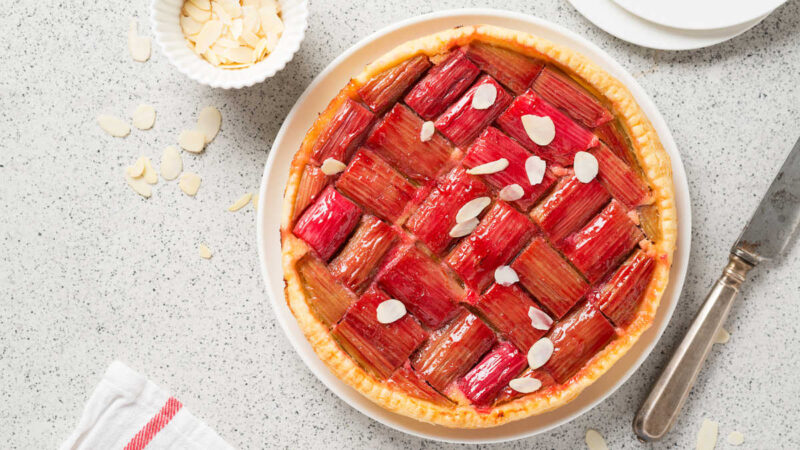 rhubarb pie and almond slivers