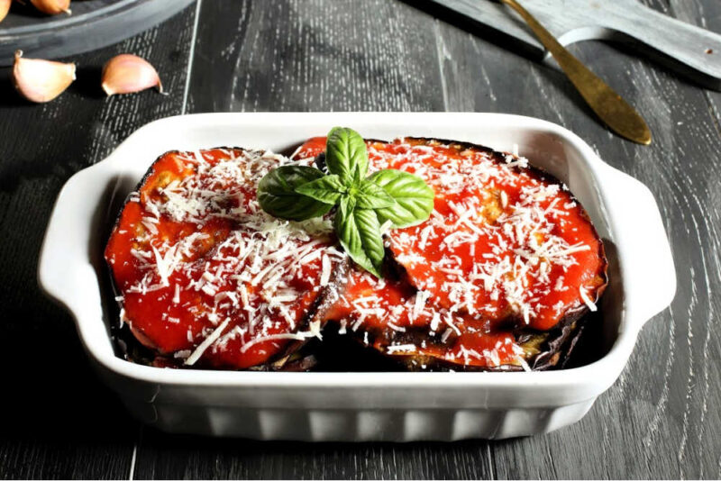 eggplant parmesan in a baking dish