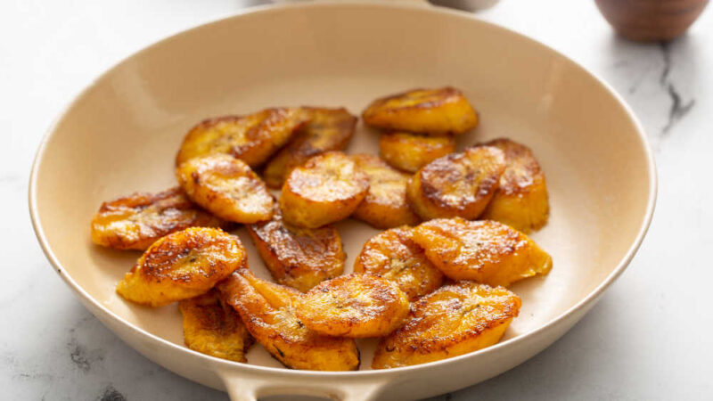 fried plantains in a skillet