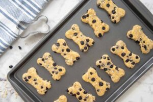 homemade blueberry dog treats on a baking sheet and a bone shaped cookie cutter