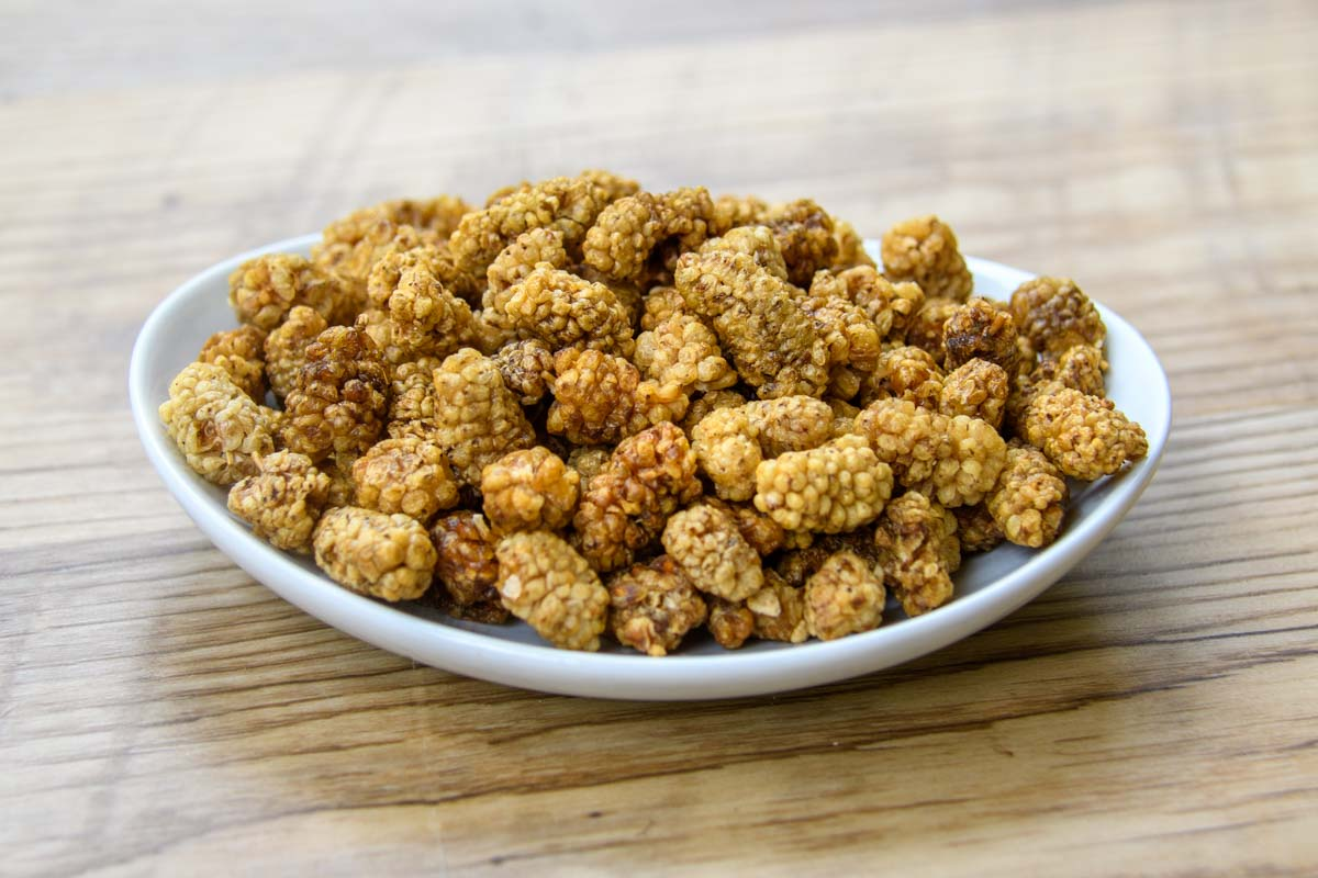 dried white mulberries on a plate