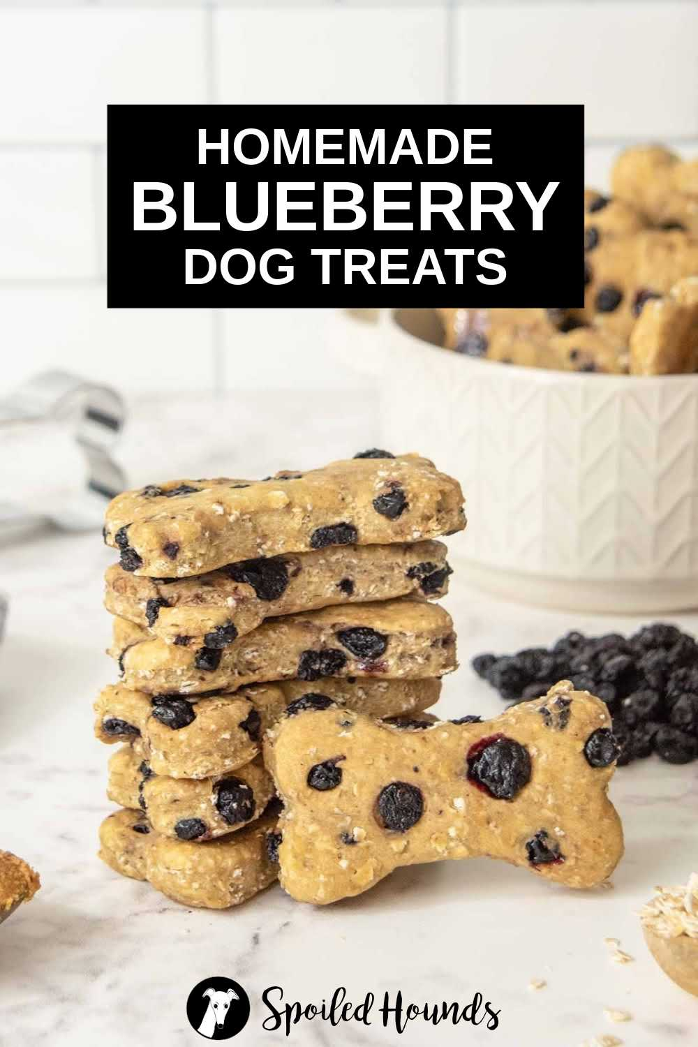 a stack of homemade blueberry dog treats