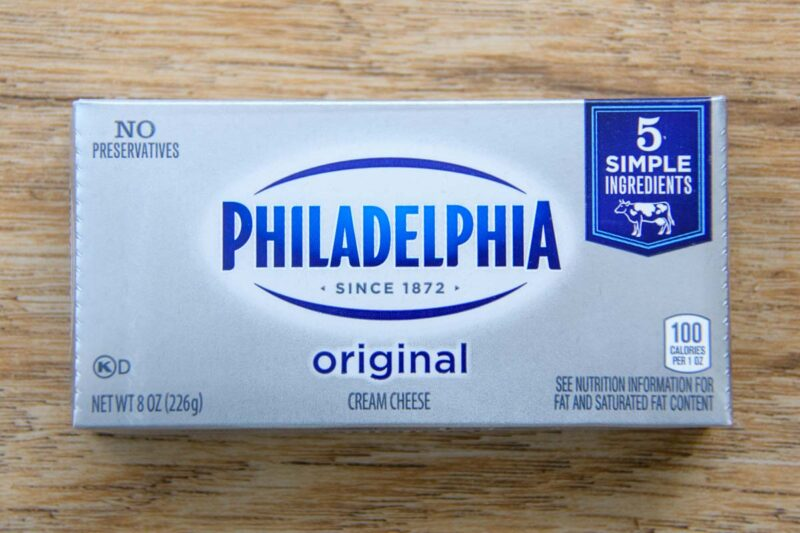 a package of Philadelphia cream cheese