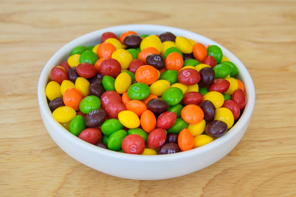 skittles candy in a bowl