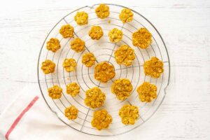 baked 3 ingredient dog treats on a wire rack