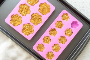 3 ingredient dog treats dough in silicone paw print candy molds