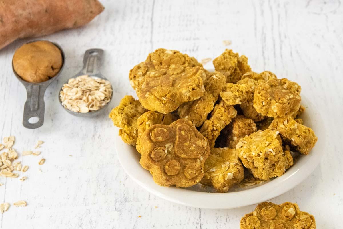 homemade dog treats, oatmeal, peanut butter, and sweet potato