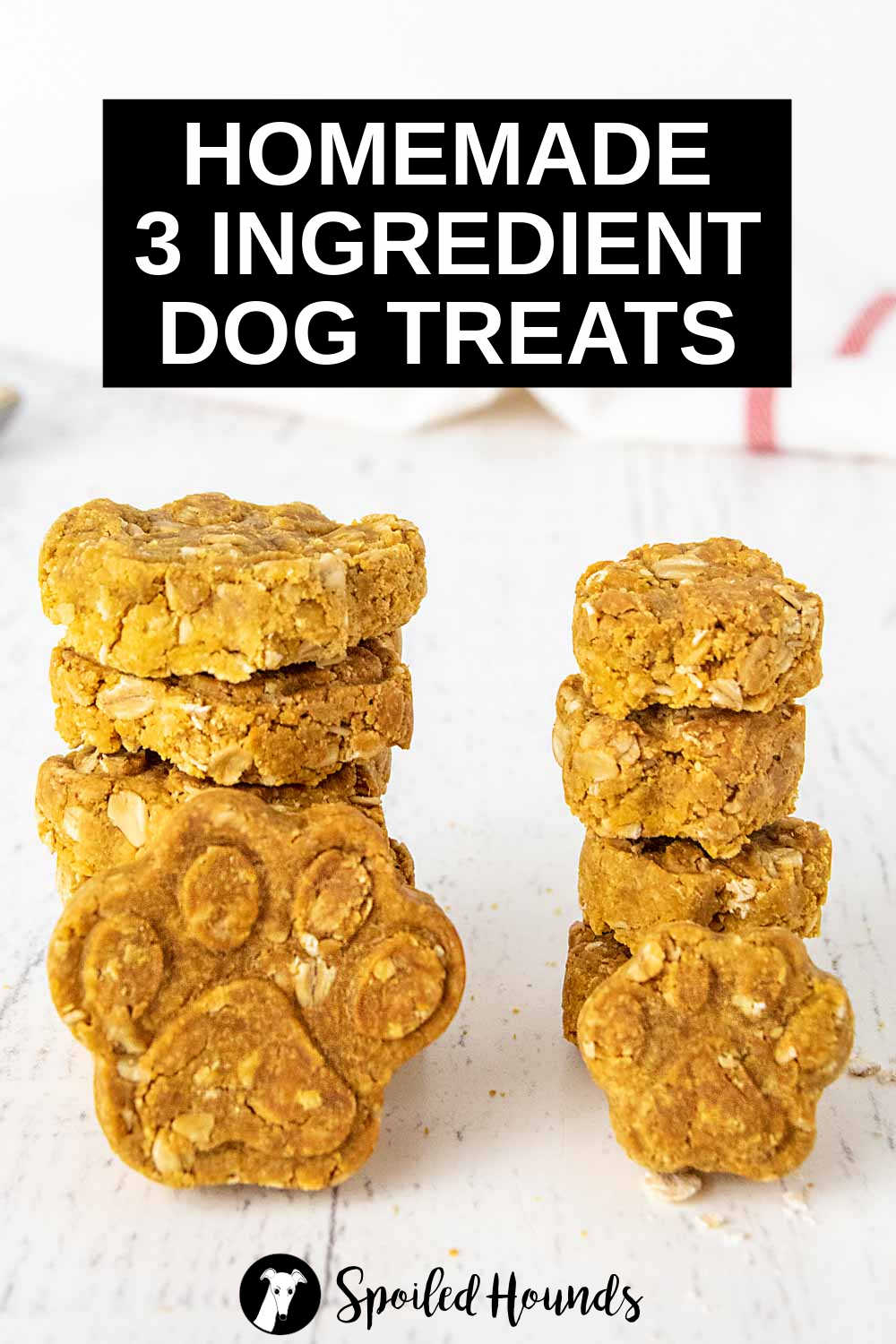 two stacks of homemade 3 ingredient dog treats