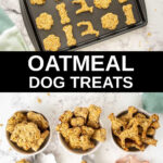 apple oatmeal dog treats on a baking sheet and in bowls