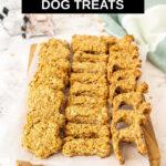 rows of apple oatmeal dog treats on a platter
