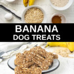 banana dog treats ingredients and baked ones in a bowl