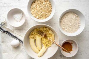 mashing bananas in a bowl