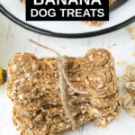 homemade banana dog treats tied together with string