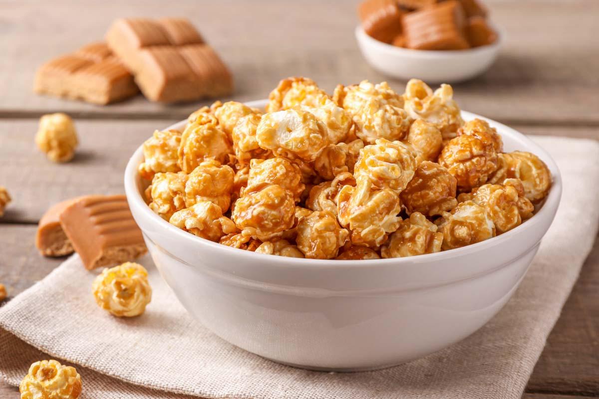 caramel popcorn and caramel candy