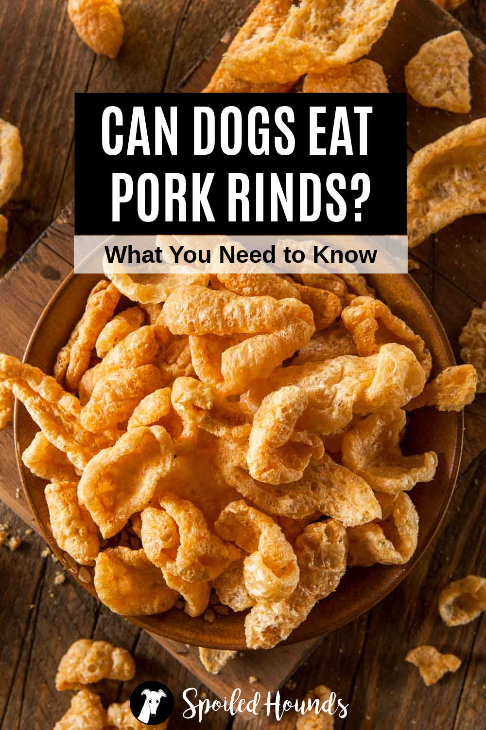 pork rinds in a bowl and scattered around it