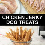 raw chicken breasts and a bowl of homemade chicken jerky treats for dogs