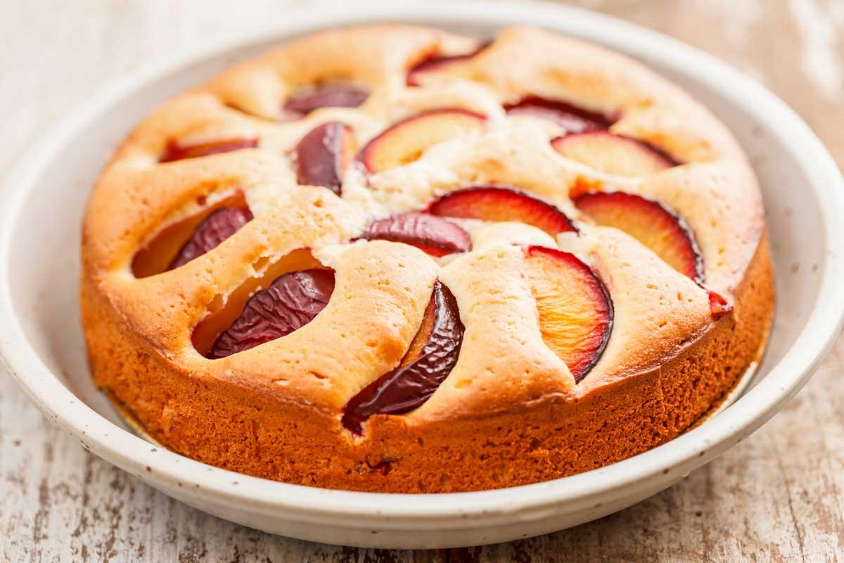 plum cake on a serving platter