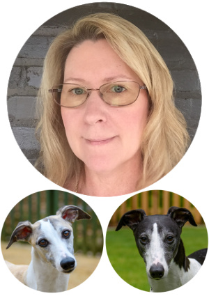 faces of a woman and two whippets.