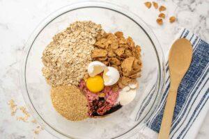 satin balls ingredients in a mixing bowl