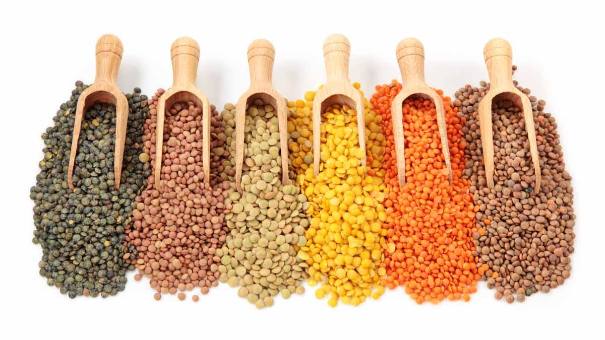 scoops of assorted lentils