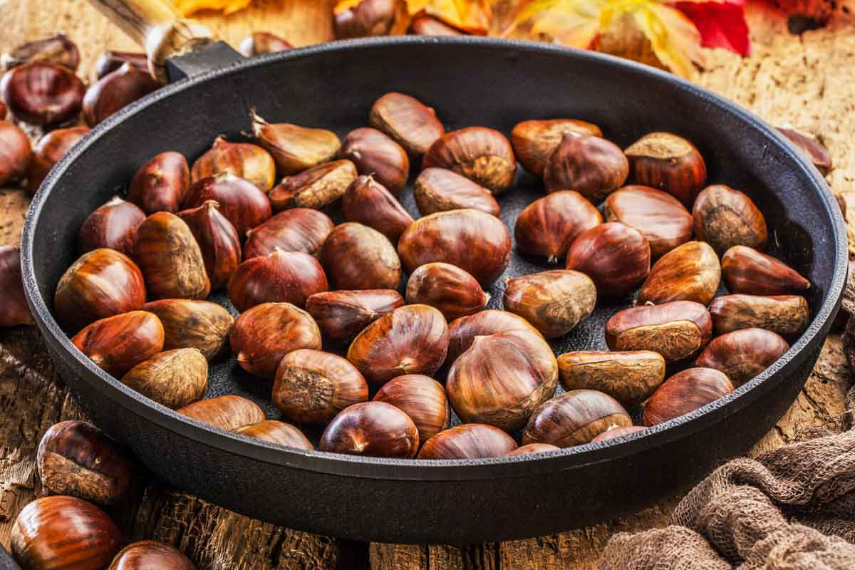roasted chestnuts in a pan.