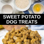 photo collage of homemade sweet potato dog treats ingredients and baked treats in a bowl.