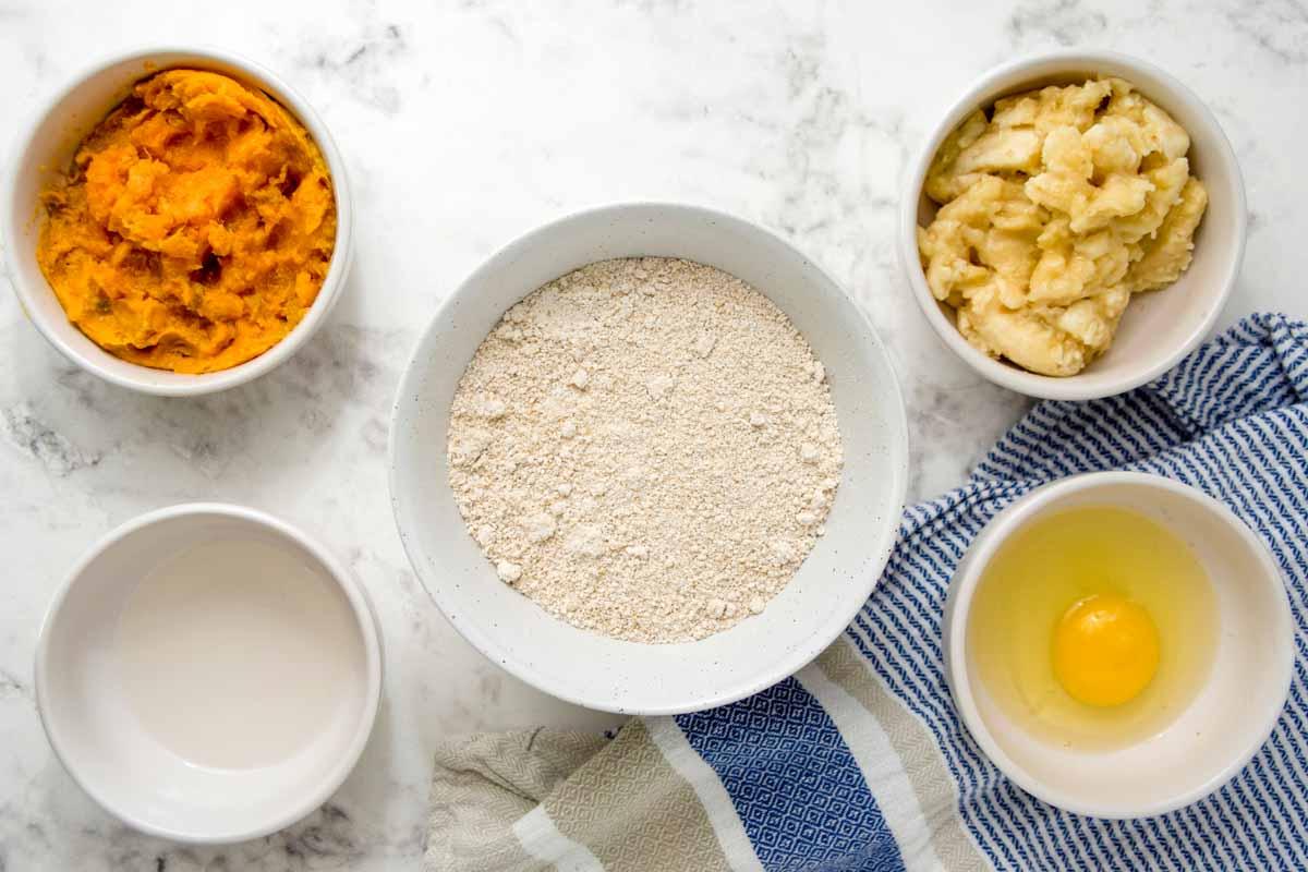 ingredients for homemade sweet potato dog treats.