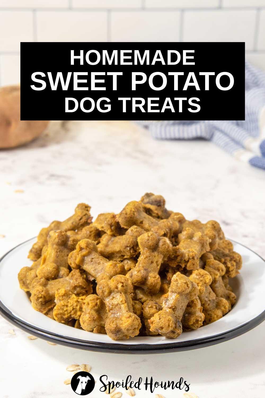 homemade sweet potato dog treats in a bowl.