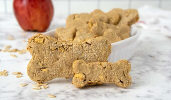 two homemade apple dog treats and an apple.