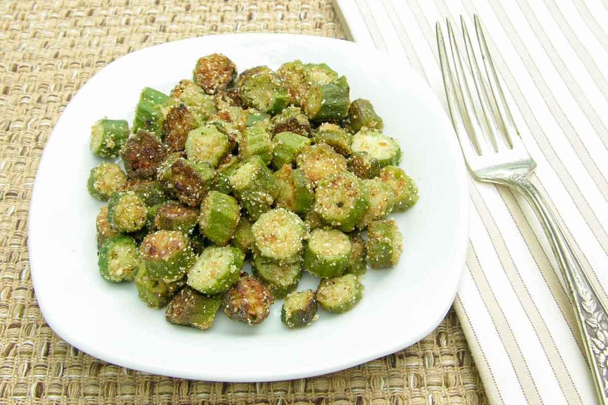 fried okra on a plate.