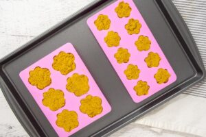 peanut butter pumpkin dog treats dough in paw shaped molds.