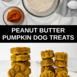 peanut butter pumpkin dog treats ingredients and stacks of the treats.