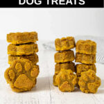 stacks of homemade peanut butter pumpkin dog treats.