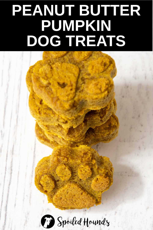 a stack of homemade peanut butter pumpkin dog treats.