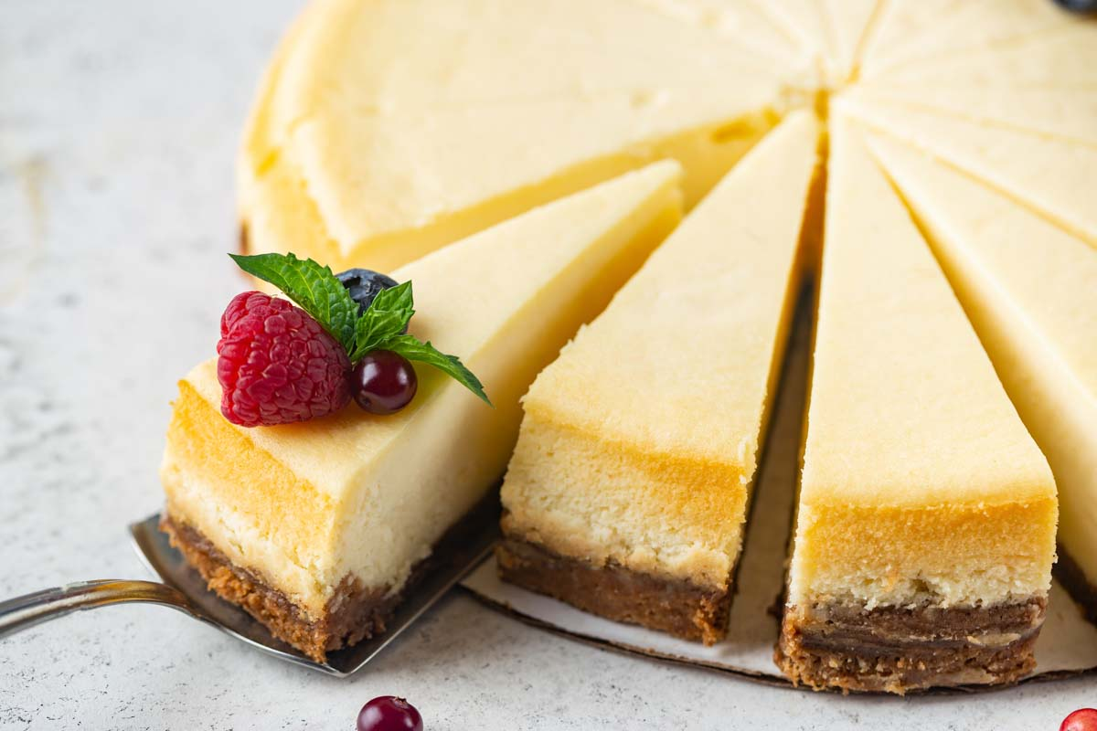 slices of New York cheesecake.
